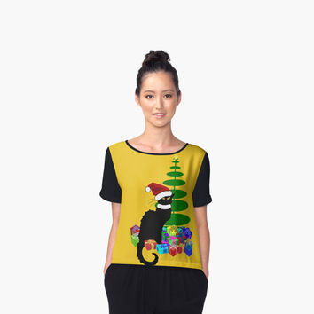 ' Christmas Le Chat Noir With Santa Hat' Women's Chiffon Top by Gravityx9