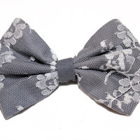Gray Lace Hair Bow