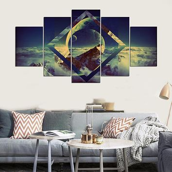 Canvas Wall Art Frames Modular Picture 5 Panel Beautiful Planets Landscape Canvas Painting Modern Living Room Decorative PENGDA