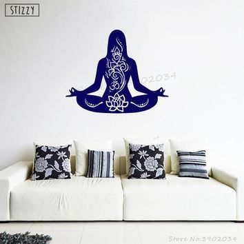 STIZZY Wall Decal Indian Yoga Wall Stickers Meditation Lotus Pose Pattern Modern Om Sign Livingroom Window Art Mural Decor B71