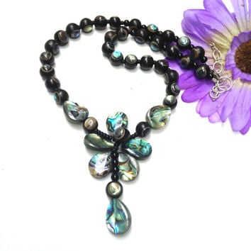 Black Wood and Abalone  Necklace, Rare Ebony Wood and Paua Shell necklace, Statement Wire wrapped Necklace