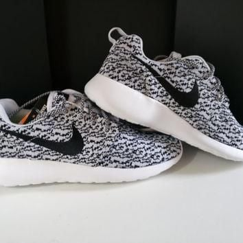 custom nike roshe yeezy boost 350 run sneakers mens gray/white shoes
