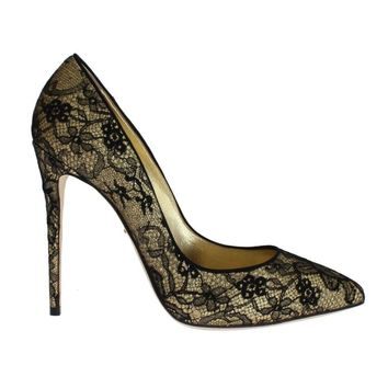 Dolce & Gabbana Yellow Black Lace Stiletto Heels Shoes