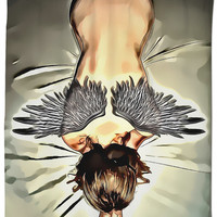 Adult series, shower curtain - Broken angel, fetish themed bathroom decor