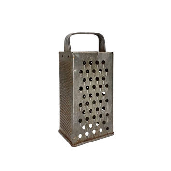 Vintage Rusty Metal Kitchen Grater Shabby Cottage Chic Farmhouse Country Primitive Rustic Tarnished Aged Old Worn Cooking Utensil Tools