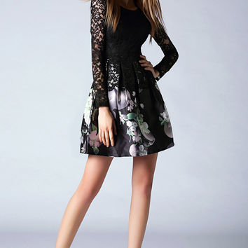 Black Printed Lace Dress