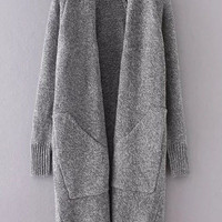 Grey Collarless Long Sweater Coat With Pockets