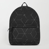 Faded Black and White Cubed Abstract Backpack by Sheila Wenzel
