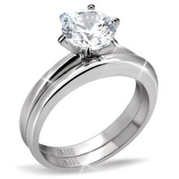 2 CT Classic Solitaire Round Brilliant CZ Stainless Steel Wedding Ring Set