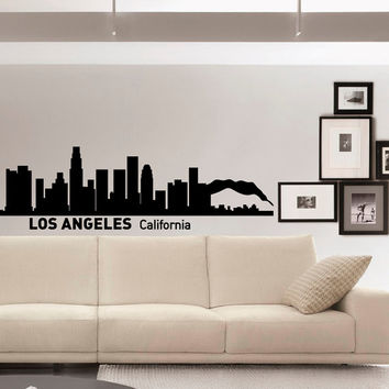Wall Decals Vinyl Stickers Los Angeles California City Skyline Silhouette Art Home Decor for Living Room C007