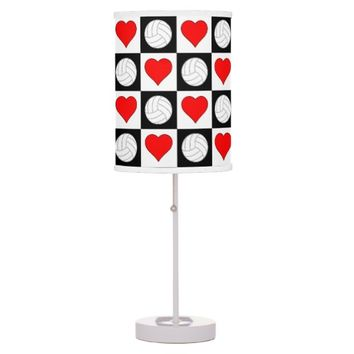 Volleyball and Heart Black & White Checkered Lamp
