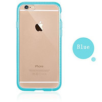 Colorful POPO Clear Hard PC Back Panel Hybird Soft TPU Bumper Case with Bling Rhinestone Diamond Frame for iPhone 6 & 6s 4.7 Inch (Blue)