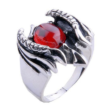 Ruby Gem Stone Ring Scorpion Jewelry for Men's Fashion & Apparel-Size 9