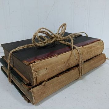 Rustic Books Set of 2 for Decor Old Books in Shabby Challenged Condition for Journaling, Mixed Media Art, Upcycling, Scrapbooking or Props