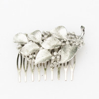Silver Leaves and Berries Hair Comb- Vintage, Bridal, Wedding, Prom