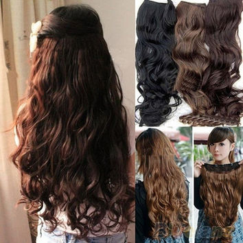 Hot Fashion Full Head Clip Curly/ Wavy Women Synthetic Hair Extension Extensions = 5987616385