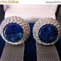 SALE Retro Silver Tone Blue Glass Mesh Wrap Cuff Links * Faux Gemstone * Vintage * Suit Accessories * Mens Jewelry