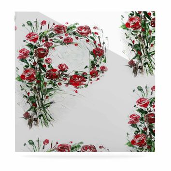 """Maria Bazarova """"FLoral Monogram P"""" Red Green Floral Nature Painting Digital Luxe Square Panel"""