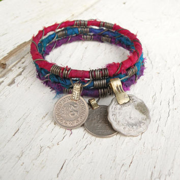 Silk Road Bangle Stack, 3 Piece Set, Tribal Gypsy Coins and Sari Silk, Teal, Purple, Fuschia