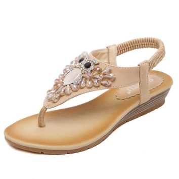 DCCKIX3 Summer Design Stylish Wedge Rhinestone Shoes Plus Size Sandals [4920336964]