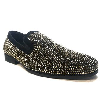 Asher Gold & Black Crystal Dress Loafers