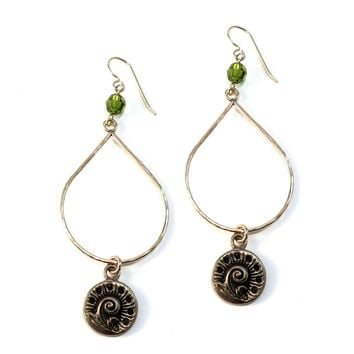 SPRING FERN Large Teardrop Antique Button Earrings - BRONZE w/ gemstone