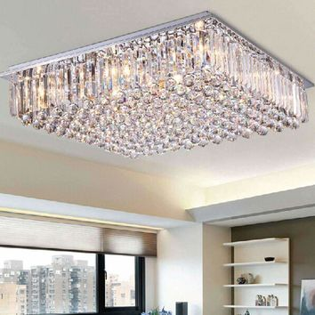 Modern led dining room chandelier large crystal lamp bedroom atmosphere living room lights colorful simple rectangular villa