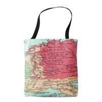 Vintage map of Europe Pattern in Coral and Mint Tote Bag