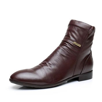 Basic Editions Men's Casual Side Zipper Western Styled Ankle Boots - R9256-01-B841
