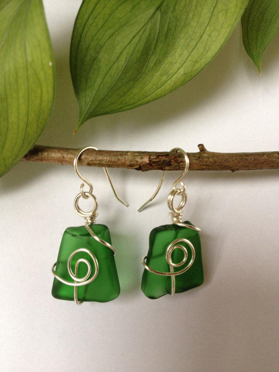 Green Glass with Non Tarnished Silver Earrings