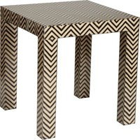 Madeline Weinrib Black Chevron Block Print Parson Table