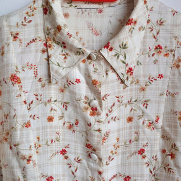 vintage floral long sleeve shirt button up collared blouse small s