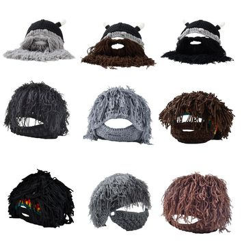 Funny Mustache Children & Adult Bearded Beanie Knitted Hat