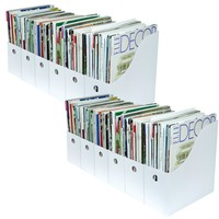 Evelots Set of 12 Magazine File Holder Organizer Boxes W/ Labels, Black or White