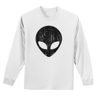 Extraterrestrial Face - Alien Distressed Adult Long Sleeve Shirt by TooLoud
