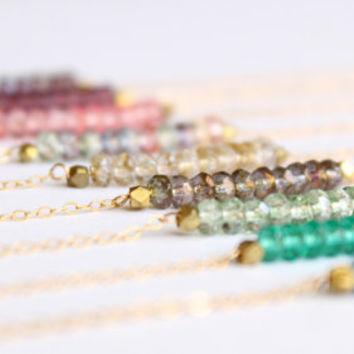 Crystal Bead Bar Necklace - 14k Gold Necklace - Necklace Bracelet Set - Bridesmaids Gift - Friendship Bracelet - Multi Color Necklace - Thin