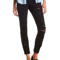 Zipper-Cuff Destroyed Black Skinny Jeans - Black Denim