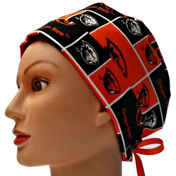 Women's Pixie Surgical Scrub Hat Cap in Oregon Beavers Squares