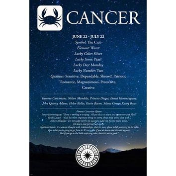 CANCER astrology description POSTER 24X36 FAMOUS people QUOTES qualities NEW