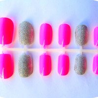 Neon Pink & Holographic Glitter Press-On Nails - Set of 24