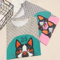 GUCCI New summer loose bust dog print number 25 letter short-sleeved t-shirt female top