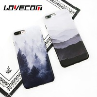 LOVECOM Vintage Mountain Forest Clouds Print Phone Case For iPhone 6 6s 7 Plus Soft IMD Back Cover Landscape Scenery Coque