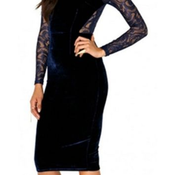 Navy Blue Sheer Mesh Lace Cut Out Long Sleeve Scoop Neck Velvet Bodycon Midi Dress