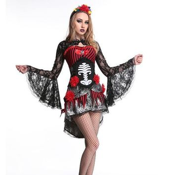 Vampire Costume for Women Skull Zombies Costume Deguisement Halloween Costumes for Women Carnival Costume Fancy Dress
