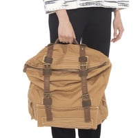wolf Backpack with leather Trim - tan