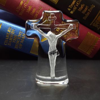 3D Crystal Ornaments Crucifix Jesus Figurines Glass
