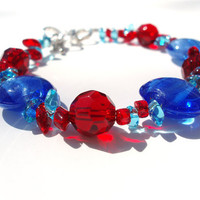 Blue Glass Circle Bracelet