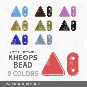 Czech Glass Kheops Two-Hole Triangle Bead Vector Illustration - Kheops Beads Clipart Pack