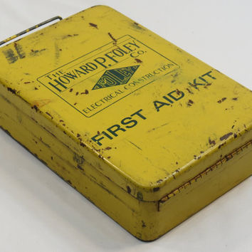 Vintage Howard P. Foley Co. First Aid Kit Full Yellow Metal Box