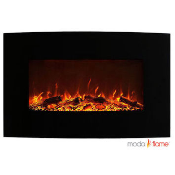 """Moda Flame Chelsea 35"""" Curved Black Wall Mounted Electric Fireplace"""